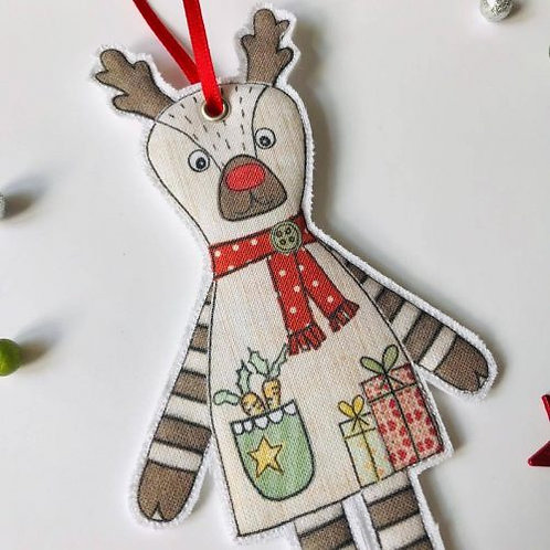 2 x Fabric Rudolph Hanging Decoration