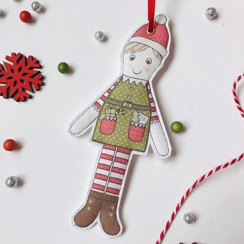 2 x Fabric Elf Hanging Decoration