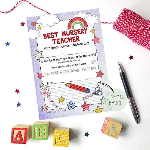 Best Nursery Teacher Certificate and Pencil Badge