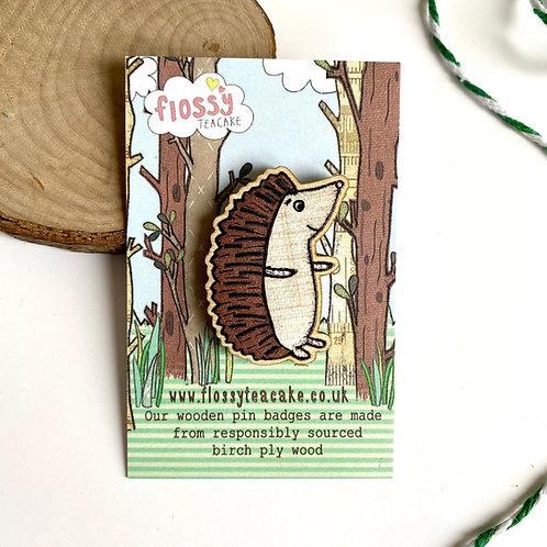 Hedgehog Wooden Pin Badge