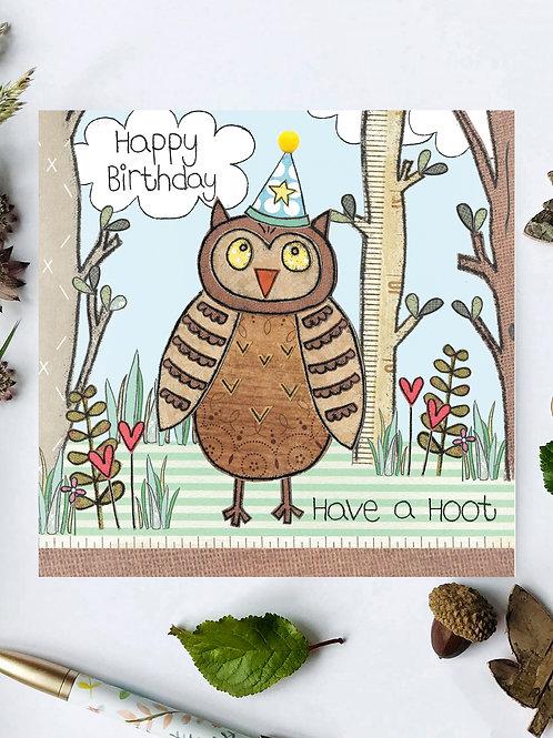 3 x Owl Woodland Birthday Card