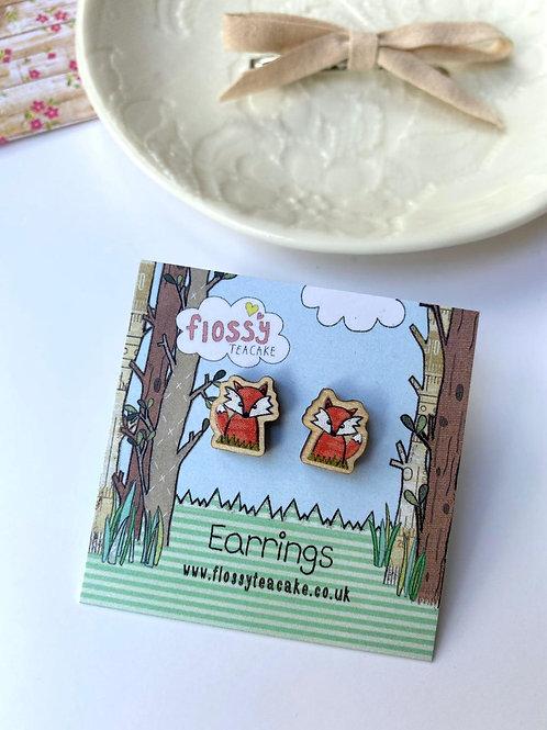Fox Wooden Earrings