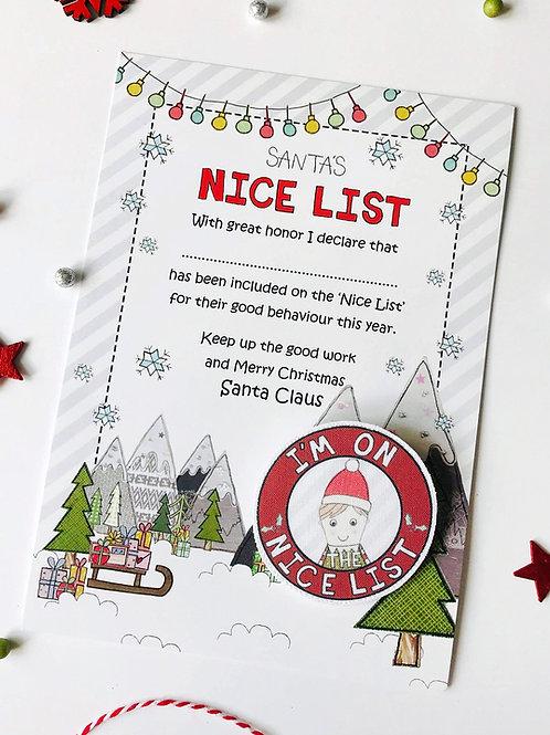 3 x Santas Nice List Badge and Certificate
