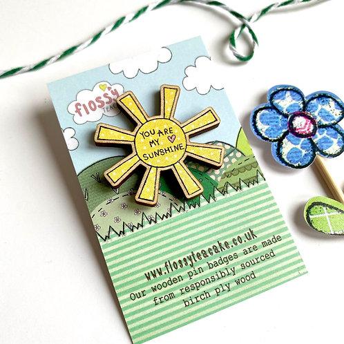 3 x Sunshine Wooden Pin Badge