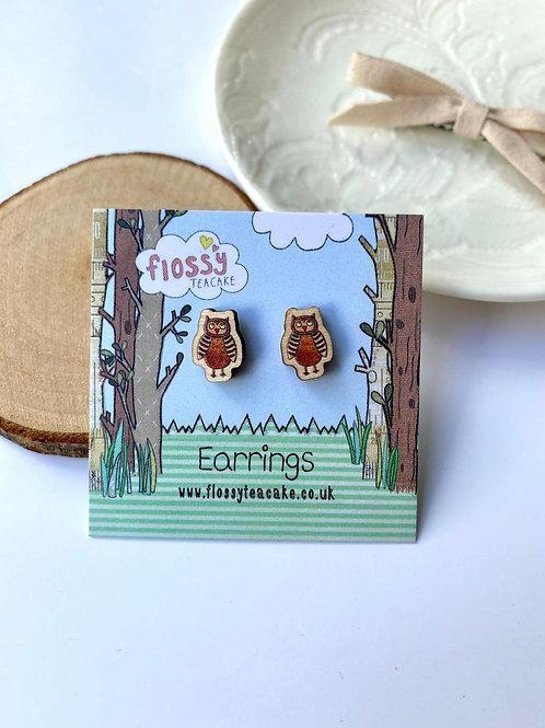 3 x Owl Wooden Earrings