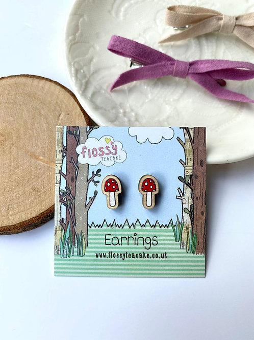 Toadstool Wooden Earrings