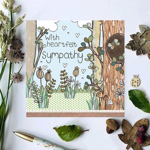 3 x With heartfelt sympathy Woodland Card