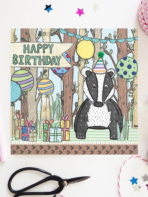 3 x Badger Woodland Birthday Card