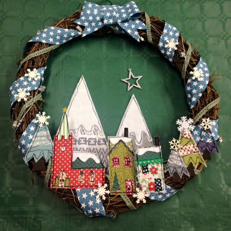 winter village wreath