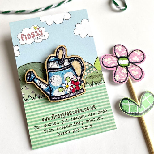 3 x Watering Can Wooden Pin Badge