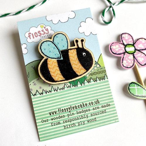 Bee Wooden Pin Badge