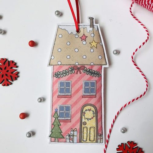 2 x Fabric Christmas Red House Hanging Decoration