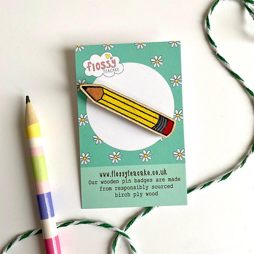3 x Pencil Wooden Pin Badge