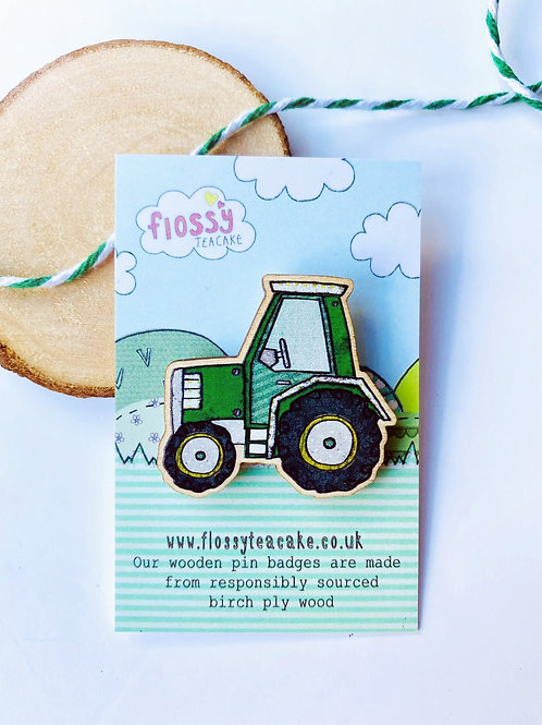Tractor Wooden Pin Badge
