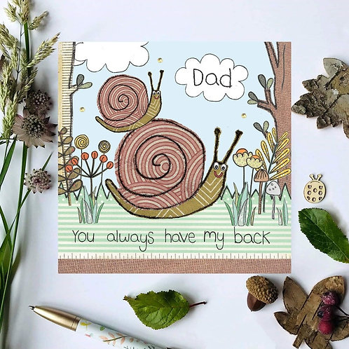 3 x Dad Snail Woodland Card