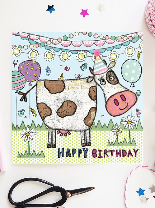 3 x Cow Party Birthday Card