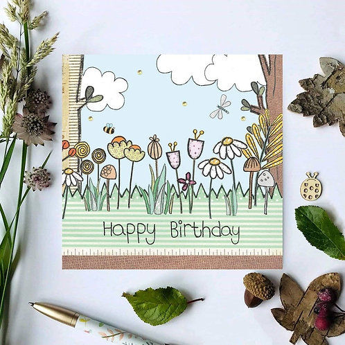 Woodland Flowers Birthday Card
