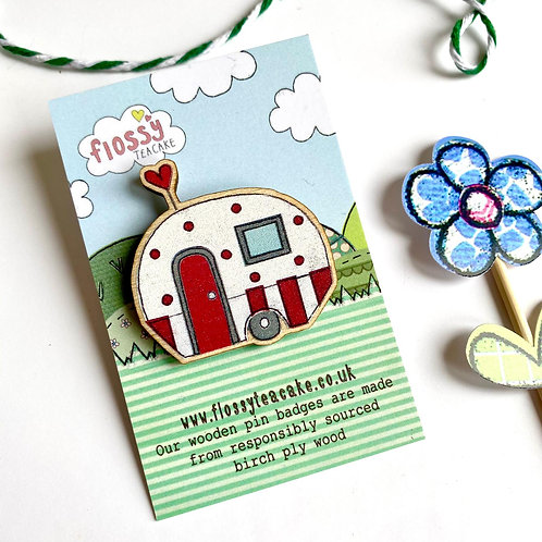 Caravan Wooden Pin Badge