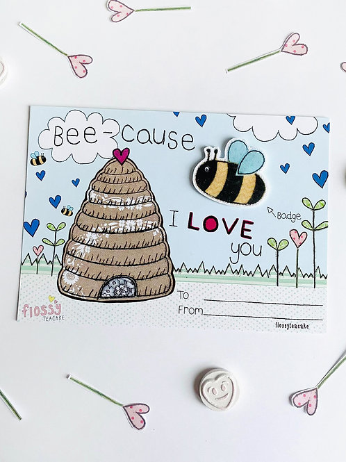 3 x Bee-cause I Love You Bee Badge