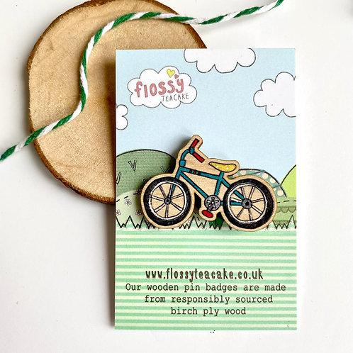 Bike Wooden Pin Badge