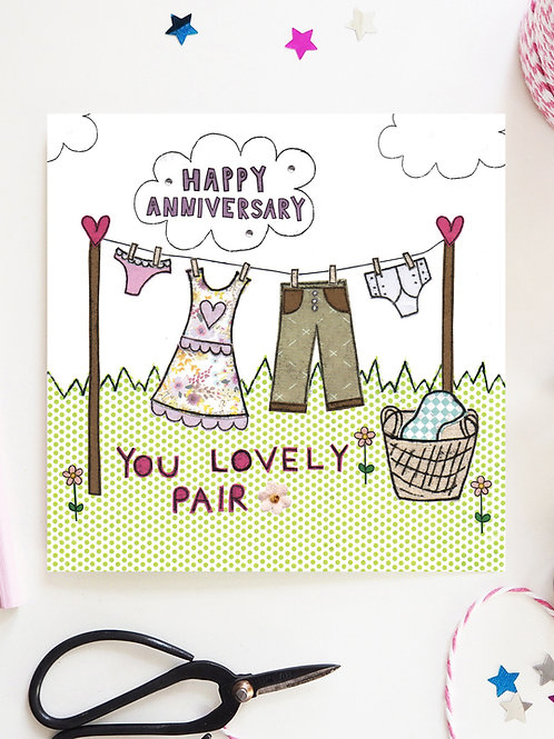 3 x Anniversary Washing Line Card
