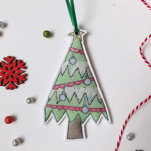 2 x Fabric Christmas Tree Hanging Decoration