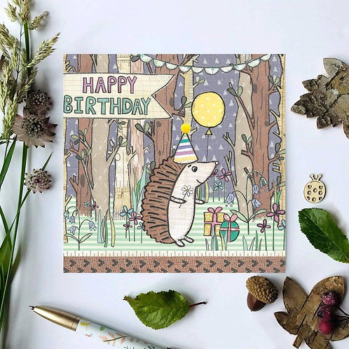 Hedgehog Woodland Birthday Card