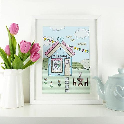 3 x Teashop A4 Art Print