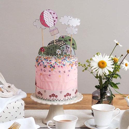 Pink Hot Air Balloon Cake Topper