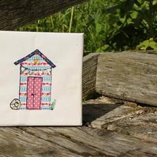 machine embroidered beach huts