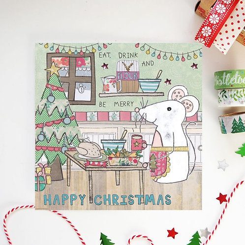 6 x Eat Drink and be Merry Christmas Card
