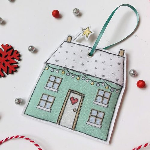 2 x Fabric Christmas House Hanging Decoration