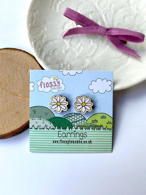 3 x Daisy Wooden Earrings