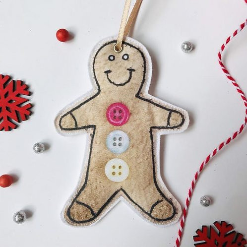 2 x Fabric Gingerbread Man Hanging Decoration