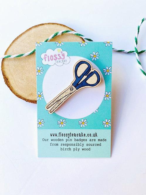 Scissors Wooden Pin Badge