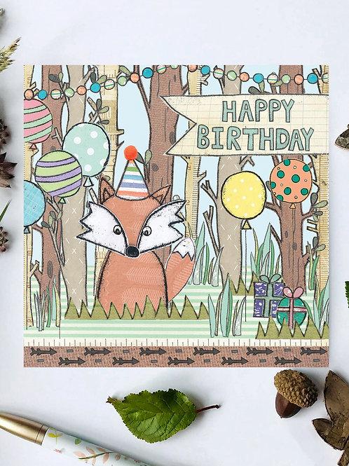 3 x Fox Woodland Birthday Card