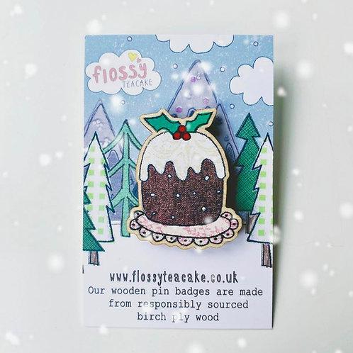 3 x Christmas Pudding Wooden Pin Badge