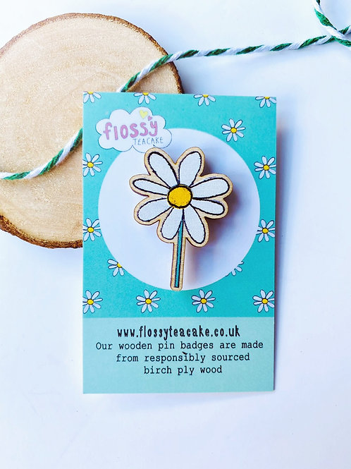 3 x Daisy Wooden Pin Badge