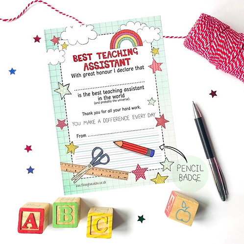 Best Teaching Assistant Certificate and Pencil Badge