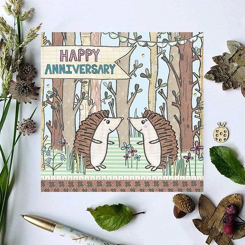 3 x Happy Anniversary Hedgehogs Card