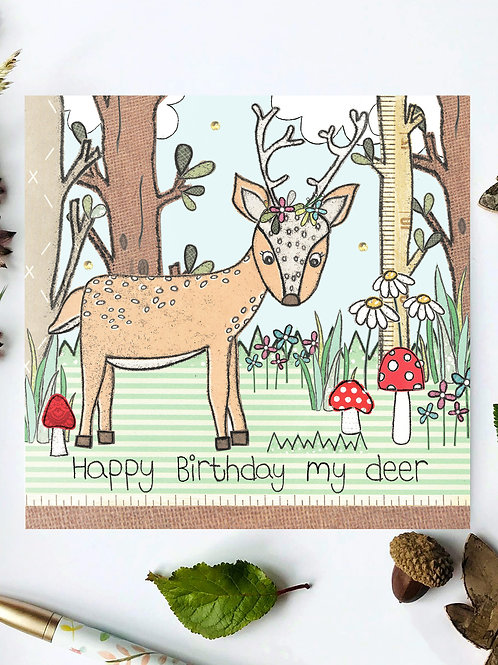 Deer Woodland Birthday Card