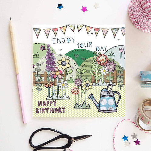 Watering Can Garden Birthday Card
