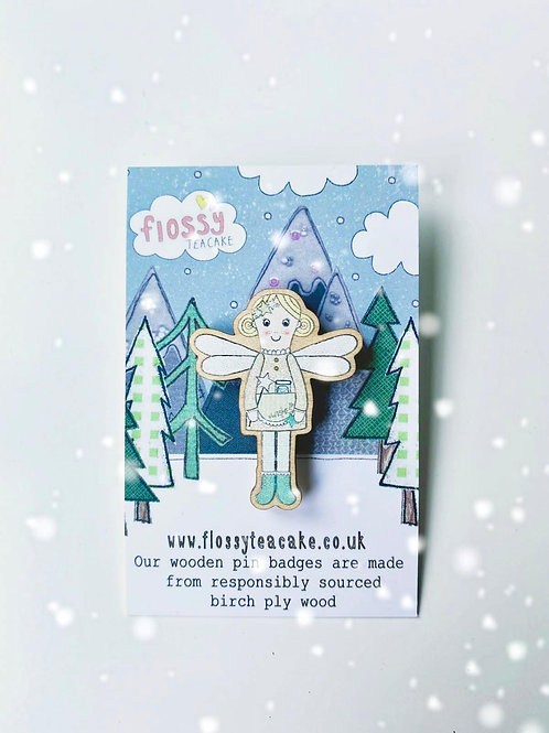 3 x Flossy Fairy Wooden Pin Badge