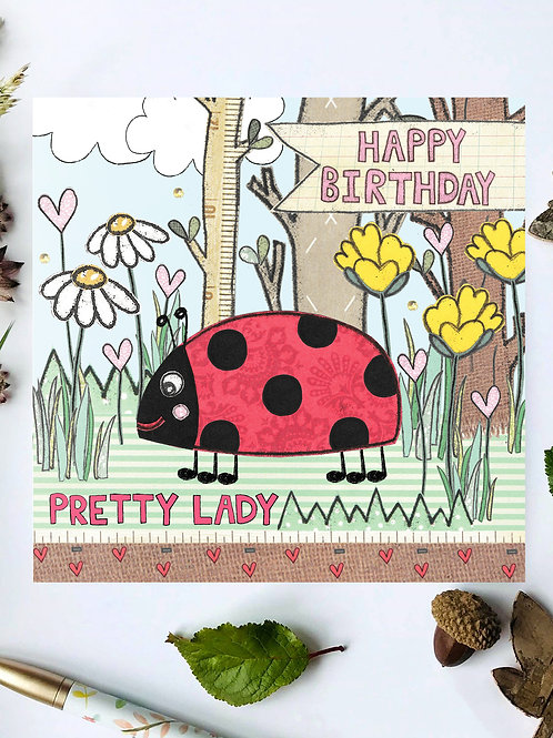 Ladybird Woodland Birthday Card