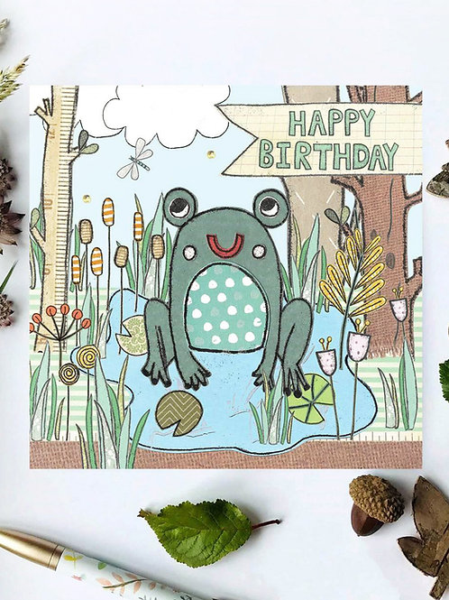 3 x Frog Woodland Birthday Card