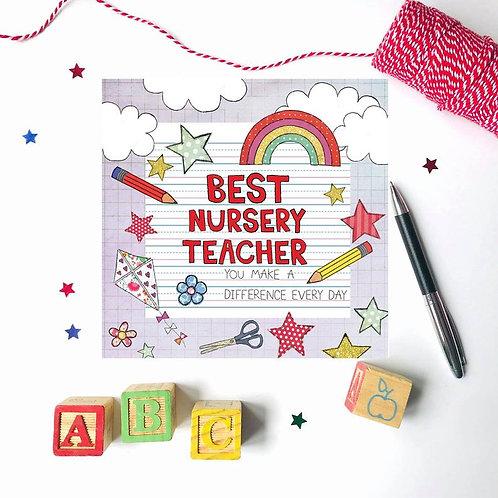 3 x Best Nursery Teacher Card