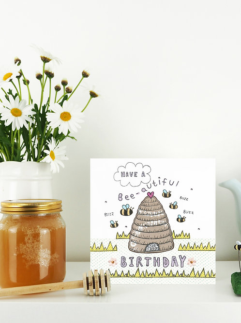 3 x Bee-utiful Birthday Card x