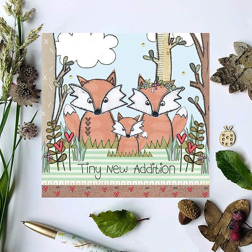 Tiny New Addition Fox Woodland New Baby Card
