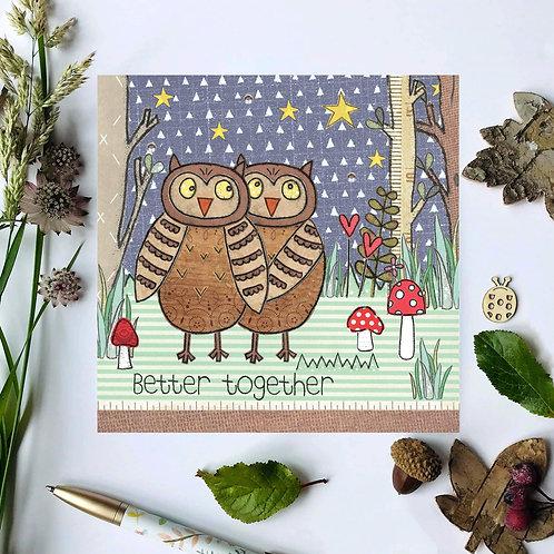 Better Together Owl Woodland Card