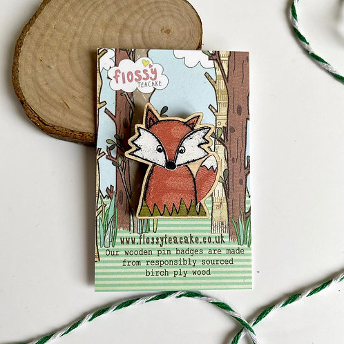 3 x Fox Wooden Pin Badge